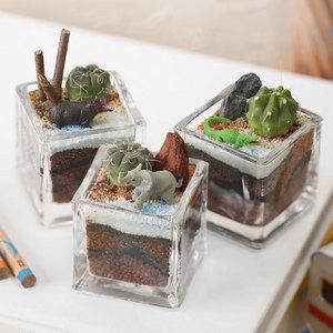 ちいさな植物と一緒に楽しむジオラマ「ナイルのゾウたち」ミニサイズ3個セットの商品画像