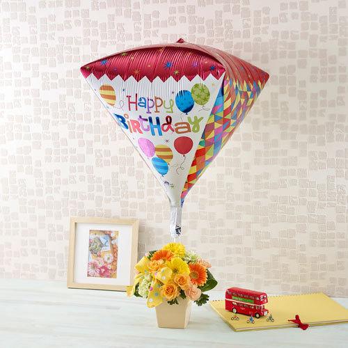 「HAPPY BIRTHDAY」ビッグバルーンとアレンジメント
