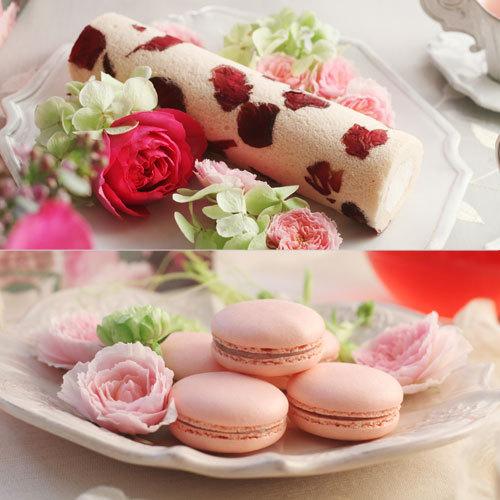 お花のスイーツ「花咲くローズロール&花咲くローズマカロン」