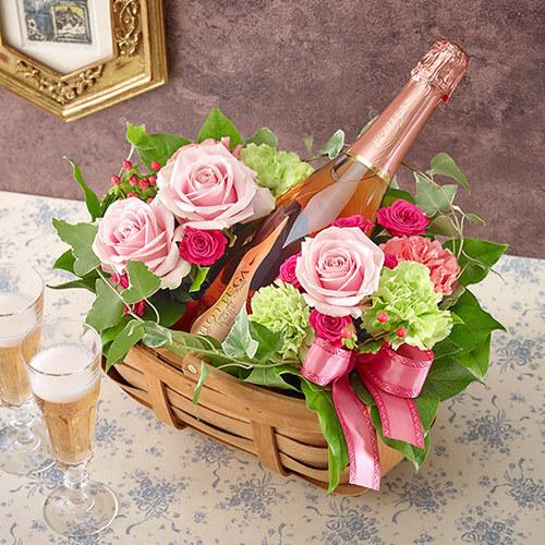 ロゼスパークリングワインとアレンジメントのセット