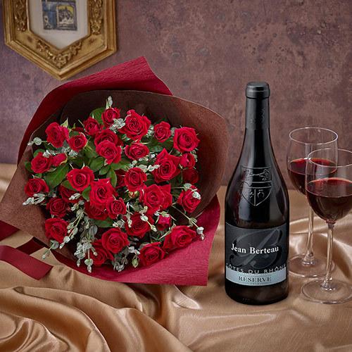 赤ワインとバラの花束「ファンファール」