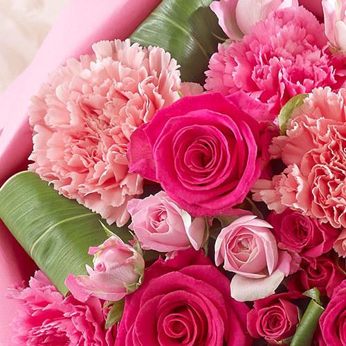 シャンパンとバラの花束ペタロ・ローザ「ローズピンク」