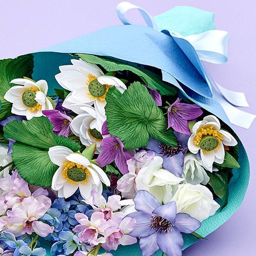 【お供え用】墓前用アーティフィシャル花束「水芙蓉」