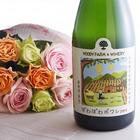 花紀行山形「西洋梨のお酒 ぽわぽわポワレ」とバラ10本のセット