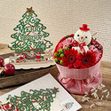 クリスマス そのまま飾れるブーケ「おめかしスノーマンのブーケ」とウッドツリーのセット