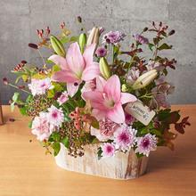 【お供え用】O・SO・NA・E flower 「10月のウッドボックスアレンジメント」
