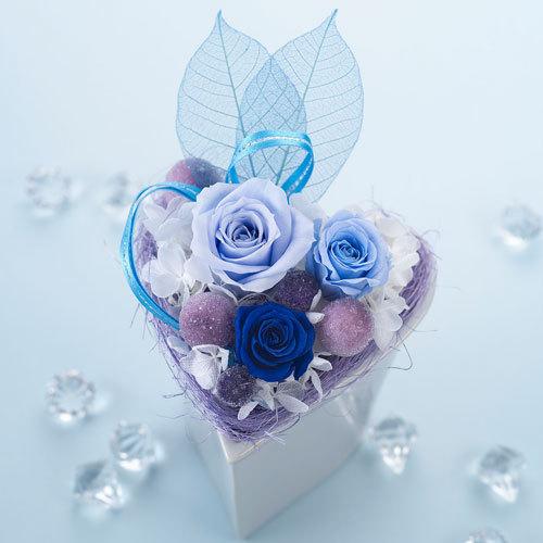 バラが香るプリザーブドアレンジメント「ブルーハート」ラッピングつき